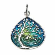 Kiara Jewellery Sterling Silver Pear Shape Tree Of Life Pendant Necklace With Enamel Detail on 46cm Italian diamond Cut Curb Chain. Rhodium Plated.