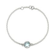Natural Blue Topaz Gemstone Bracelet 2g 925 Sterling Silver 17/18cm