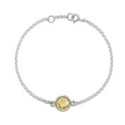 Natural Citrine Gemstone Bracelet 2g 925 Sterling Silver 17/18cm