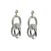 Silver plated oversized chunky large textured 5cm long rope earrings