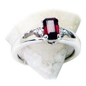 Genuine Garnet Ring Sterling Silver Square Shape Astrology January Birthstone For Women & Men uk h-z
