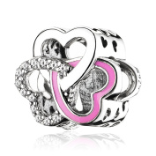 ATHENAIE 925 Sterling Silver with CZ Rose Red Enamel Entwined Love Bead Charms