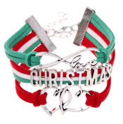 Scrox Braided Bracele Classic Christmas Alphabet Braided Bracelet Heart Shape Christmas Jewellery Accessories Adjustable Multicolor Red and Green