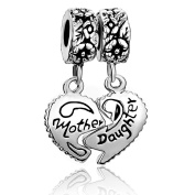Sug Jasmin Heart Love Mother Daughter Charm For Mom Beads Fit European Bracelets