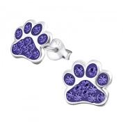 Tanzanite Crystal Paw Print Sterling Silver Stud Earrings 9MM