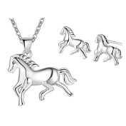 Necklace sets for Women Jewellery Silver Plated Horse Animal Necklace and Earrings Set Gifts for girls