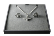 925 Sterling Silver Lovely Bumble Bees Earrings and Necklace Jewellery Set
