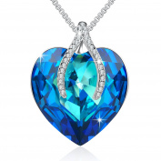 """Angelady""""Wish Bone"""" Blue Love Heart Pendant Necklace with Amethyst for Girlfriend Wife, Crystal from"""