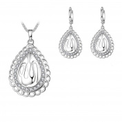 Religion Jewellery Gold/Silver Plated Crystal Islam Muslim Allah Pendant Necklace Earrings Set for Women