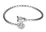 Gold Plated Bracelet with Cubic Zircons Rose Flower Charm Bracelet Bangle Opening Bracelet for Women