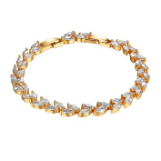18K Gold Plated Bracelet with Marquis Shaped Cubic Zircons Charm Bracelet Bangle for Women