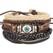 Scrox Bracelet Leather Retro Multiple Layers Woven Cuff Elastic Bracelet Blue Evil Eye Bracelet Luck Protection Men Women Braided String Adjustable Chain