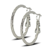 Blue Diamond Club - 9ct White Gold Filled Womens Textured Hoop Earrings 25mm