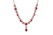 Yozone Natural Ruby Necklaces, Fashion Long Pendants with Cubic Zirconia Women or Girls Gift