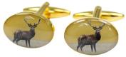Gold Standing Stag Country Cufflinks by David Van Hagen
