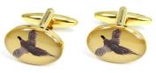 Gold Flying Pheasant Country Cufflinks by David Van Hagen