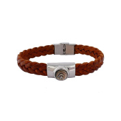 Borg Woven Leather and Pearl Bracelet Caramel