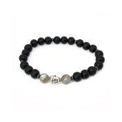 Buddha Bracelet Labradorite and Onyx Matte