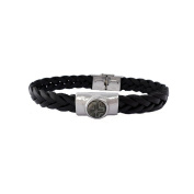 Borg Woven Leather and Pearl Bracelet Grey
