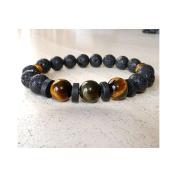 Booba Lava Stone Beads Bracelet, Tiger # X153; it & Stone Brazil