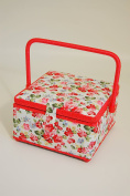 Sewing Basket - Square Shape - Single Handle - Amelia - attractive design showing flowers on a light background