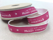 East of India Christmas Ribbon Red - We Wish You Merry Christmas