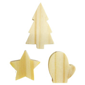 Hand-Cut Monterey Pine Imagine Crafts Mitten/ Tree and Star, Pack of 6
