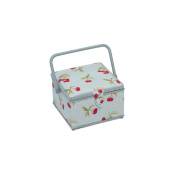 Hobby Gift HGM/062 Red/Green Cherry Blue White Spots Sewing Basket 18½x26x16cm