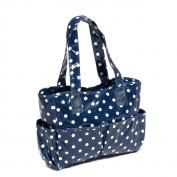 Hobby Gift MRB/32 White Polka Dot Print on Navy PVC Craft/Sewing Bag 12½x39x35cm