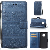Motorola Moto E4 Plus Case , Motorola Moto E4 Plus Leather Case , Motorola Moto E4 Plus Wallet Case ,cosy HUT® Elegant Tribal Elephant Pattern Design Leather Wallet Case [with Lanyard Strap/Rope] for Motorola Moto E4 Plus, Premium Flip Wallet with Card ..