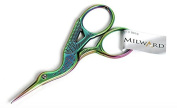 "Milward Multi-Colour Rainbow Stork Embroidery Scissors - 3.5""/9cm - Sharp Point"