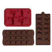 TiaoBug 3Pcs Food Grade Silicone Cake Baking Mould Christmas Non-stick Chocolate, Jelly, Biscuits and Candy Mould Mould Baking
