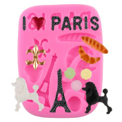 Mujiang Eiffel Tower Poodle Cake Decorating Moulds Gum Pastry Silicone Fondant Tools, Pink