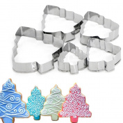 Kit 5 X Mould Cookie Biscuit Tree Shape Cutter Trees Size Cake