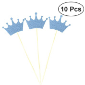 NUOLUX 10pcs Cupcake Topper Glitter Crown Cake Topper for Wedding Engagement Valentine's Day Photo Props Favours