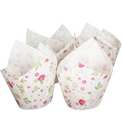 White Tulip Wraps with Floral Design x24