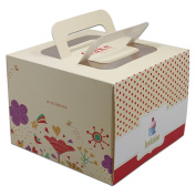 """13.5x13.5x10cm (5.3""""x5.3""""x3.9"""") 4 inch Birthday Party Cake Bake Cookies Packaging Boxes With Handle Cute Packaging Folding Cartons for Wedding Christmas Kraftpaper Packing Box 10 Pieces"""