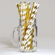 30 Assorted Drinking Paper Straws Ivory/Gold