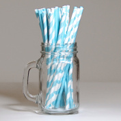 30 Assorted Drinking Paper Straws Blue