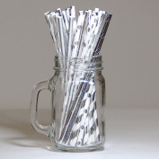 30 Assorted Drinking Paper Straws Silver/White