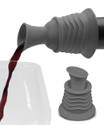 Wine Stopper and Pourer -Grey Silicone Two in One Accessory to Serve and Save Wine More Easily by Simply Charmed