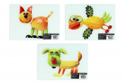 3 x Small Novelty Glass Kitchen Work Top Saver Chopping Cutting Board Fruit Pet