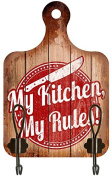 """2 Glass Chopping Board Shaped Coat Hook with """"My Kitchen My Rules 30 Clémentine Creations"""