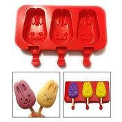 Itian Silicone Ice Cream Mould Ice Lolly Moulds with Bunny Shape Perfect to DIY Healthy Ice Juice Lollies for Kids