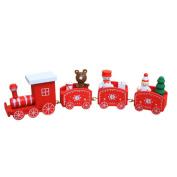 Xshuai Christmas Decorations Christmas Woods Small Train Ornaments Xmas Festive Decor Gift Toys for Kindergarten Child Educational Development
