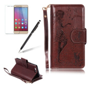Wallet Case For HUAWEI P10, Girlyard Pure Colour PU Leather Folio Flip Protective Case Floral Girl Cat Birds Holster[9 Card Slot][Inner Soft Silicone TPU] Case Cover For HUAWEI P10, Brown