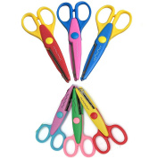 6Pcs Colourful Decorative Creative Crafts Arts Craft Scissors with 2 Different Sizes for Teachers, Students, Crafts, Scrapbooking