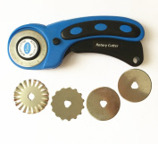 Rotary Cutter 45mm - Fabric & Paper Leather Cutter Quilting Tools with 5 Replacement Rotary Blades Pinking Crochet Edge Skip Blade