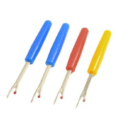 DealMux Plastic Handle Metal Sewing Quilting Tool Seam Ripper 4 Pcs Tri Colour