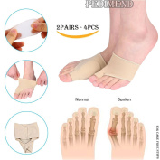 4PCS OF Bunion Relief Sleeve BY PEDIMEND - Metatarsal Pad for Cushioning, Hammertoe and Hallux Valgus Bunion - Prevent Injury - Get Pain Relief From Bunions / Blisters / Gout Or Arthritis For A More C